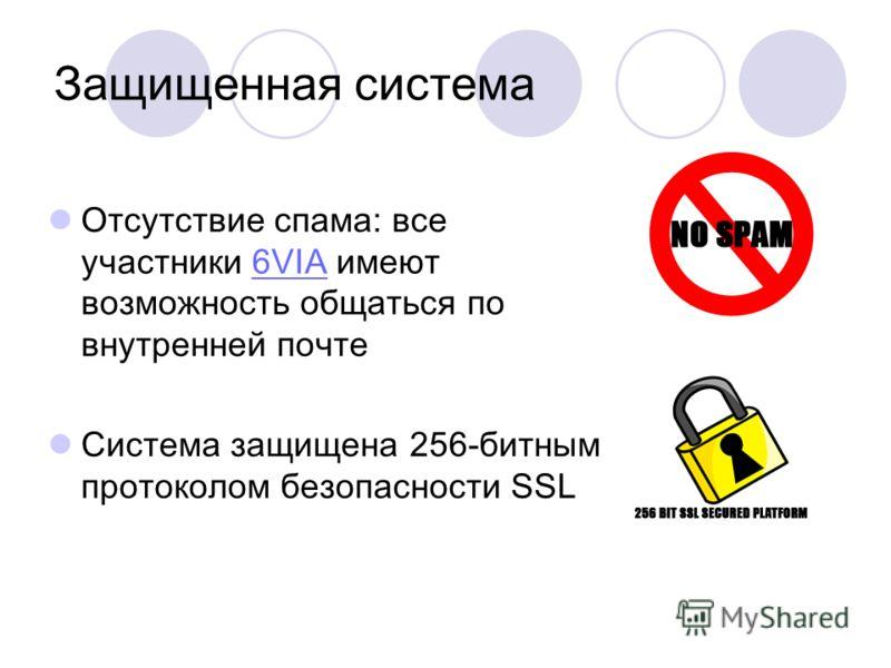 Защищенная система Отсутствие спама: все участники 6VIA имеют возможность общаться по внутренней почте6VIA Система защищена 256-битным протоколом безопасности SSL