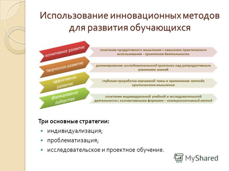Три основные стратегии : индивидуализация ; проблематизация ; исследовательское и проектное обучение. Использование инновационных методов для развития обучающихся