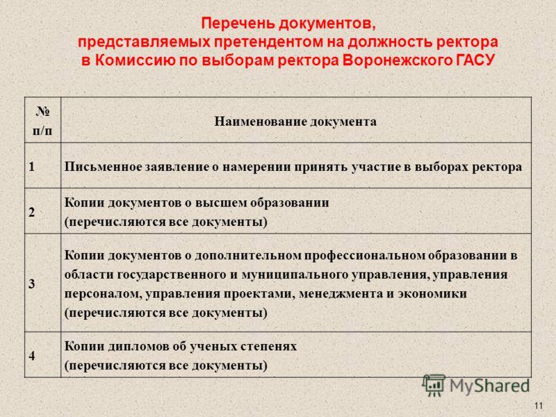 10 Примерная форма заявления претендента на должность ректора Воронежского ГАСУ В Комиссию по выборам ректора Воронежского ГАСУ Заявление Я, __________________________________________________________, намерен принять участие в выборах ректора Воронеж