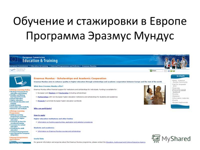 Обучение и стажировки в Европе Программа Эразмус Мундус