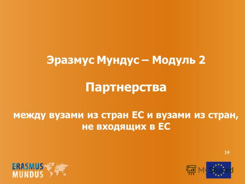14 Эразмус Мундус – Модуль 2 Партнерства между вузами из стран ЕС и вузами из стран, не входящих в ЕС