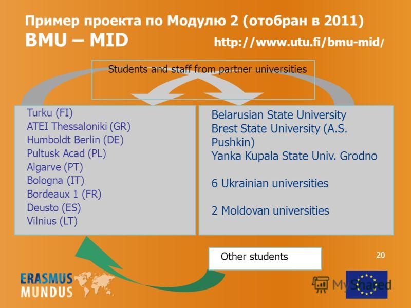 Пример проекта по Модулю 2 (отобран в 2011) BMU – MID http://www.utu.fi/bmu-mid / Belarusian State University Brest State University (A.S. Pushkin) Yanka Kupala State Univ. Grodno 6 Ukrainian universities 2 Moldovan universities Other students Studen