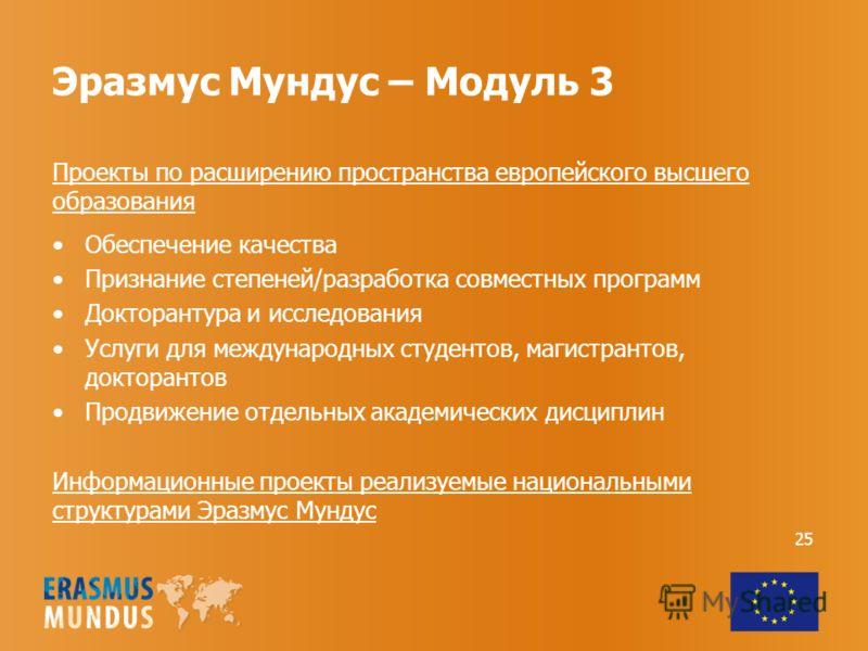 Эразмус Мундус – Модуль 3 Проекты по расширению пространства европейского высшего образования Обеспечение качества Признание степеней/разработка совместных программ Докторантура и исследования Услуги для международных студентов, магистрантов, доктора