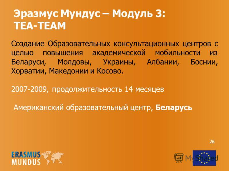 Эразмус Мундус – Модуль 3: TEA-TEAM Создание Образовательных консультационных центров с целью повышения академической мобильности из Беларуси, Молдовы, Украины, Албании, Боснии, Хорватии, Македонии и Косово. 2007-2009, продолжительность 14 месяцев Ам