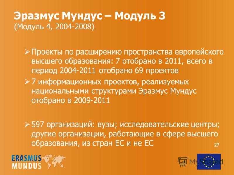 Эразмус Мундус – Модуль 3 (Модуль 4, 2004-2008) Проекты по расширению пространства европейского высшего образования: 7 отобрано в 2011, всего в период 2004-2011 отобрано 69 проектов 7 информационных проектов, реализуемых национальными структурами Эра