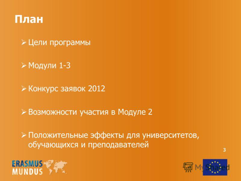 3 План Цели программы Модули 1-3 Конкурс заявок 2012 Возможности участия в Модуле 2 Положительные эффекты для университетов, обучающихся и преподавателей 3