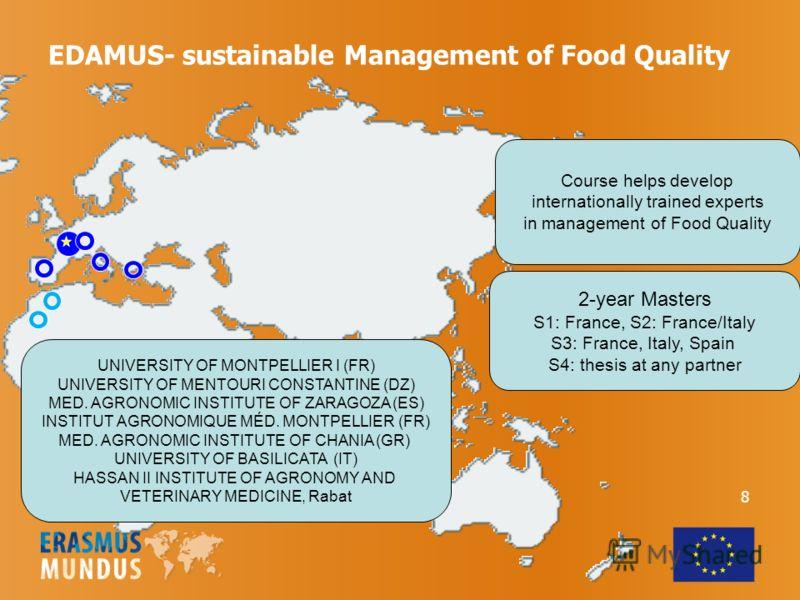 EDAMUS- sustainable Management of Food Quality UNIVERSITY OF MONTPELLIER I (FR) UNIVERSITY OF MENTOURI CONSTANTINE (DZ) MED. AGRONOMIC INSTITUTE OF ZARAGOZA (ES) INSTITUT AGRONOMIQUE MÉD. MONTPELLIER (FR) MED. AGRONOMIC INSTITUTE OF CHANIA (GR) UNIVE