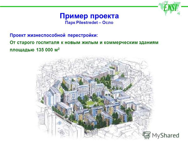Пример проекта Парк Pilestredet – Осло Проект жизнеспособной перестройки: От старого госпиталя к новым жилым и коммерческим зданиям площадью 135 000 м 2