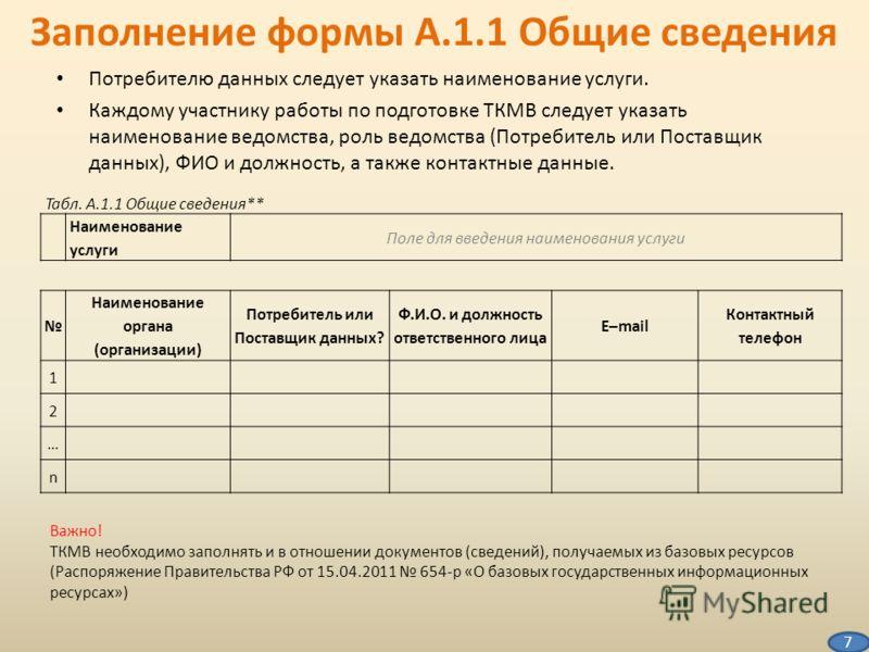 Заполнение формы А.1.1 Общие сведения Потребителю данных следует указать наименование услуги. Каждому участнику работы по подготовке ТКМВ следует указать наименование ведомства, роль ведомства (Потребитель или Поставщик данных), ФИО и должность, а та