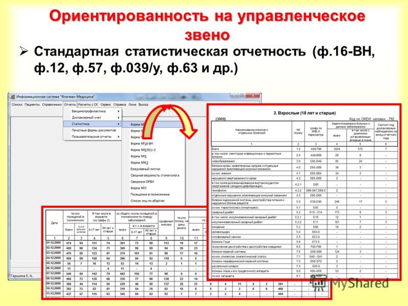 Ориентированность на управленческое звено Стандартная статистическая отчетность (ф.16-ВН, ф.12, ф.57, ф.039/у, ф.63 и др.)