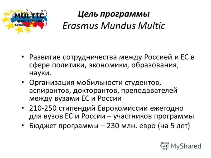 Цель программы Erasmus Mundus Multic Развитие сотрудничества между Россией и ЕС в сфере политики, экономики, образования, науки. Организация мобильности студентов, аспирантов, докторантов, преподавателей между вузами ЕС и России 210-250 стипендий Евр