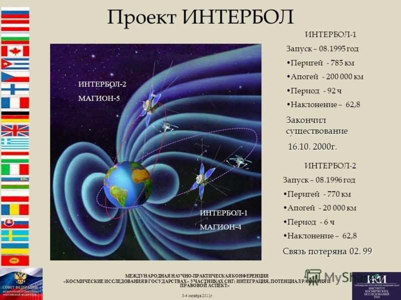 Проект ИНТЕРБОЛ ИНТЕРБОЛ-2 Запуск – 08.1996 год Перигей - 770 км Апогей - 20 000 км Период - 6 ч Наклонение – 62,8 Связь потеряна 02. 99 ИНТЕРБОЛ-2МАГИОН-5 ИНТЕРБОЛ-1МАГИОН-4 ИНТЕРБОЛ-1 Запуск – 08.1995 год Перигей - 785 км Апогей - 200 000 км Период