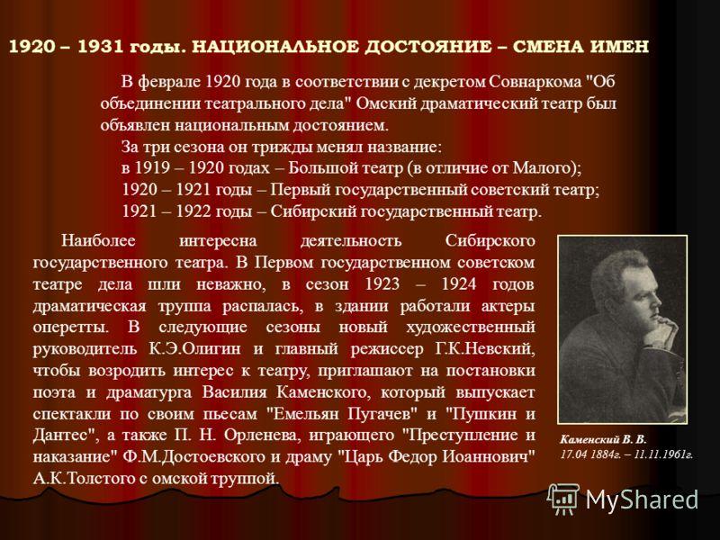 1920 – 1931 годы. НАЦИОНАЛЬНОЕ ДОСТОЯНИЕ – СМЕНА ИМЕН В феврале 1920 года в соответствии с декретом Совнаркома