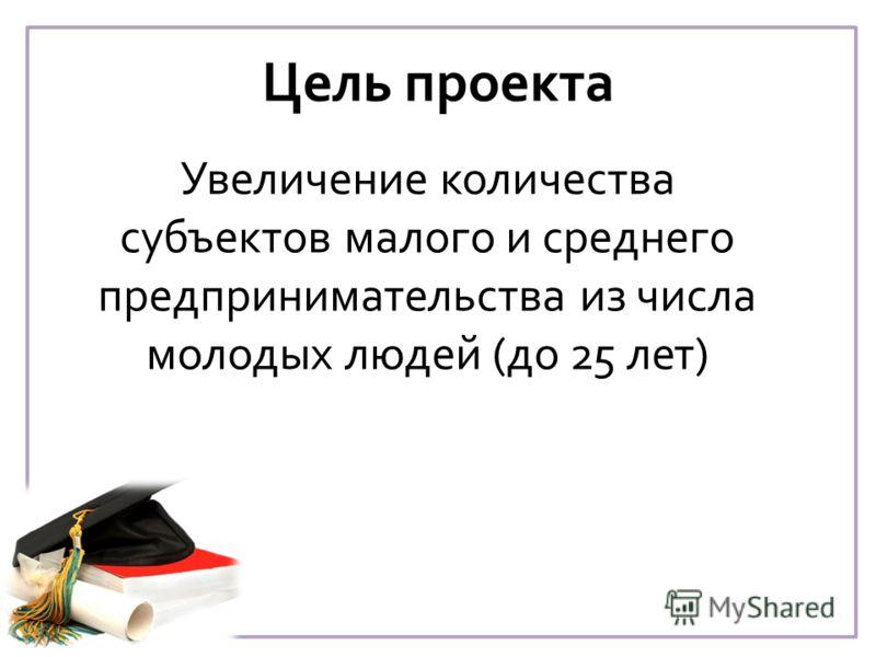 Цель проекта Увеличение количества субъектов малого и среднего предпринимательства из числа молодых людей (до 25 лет)