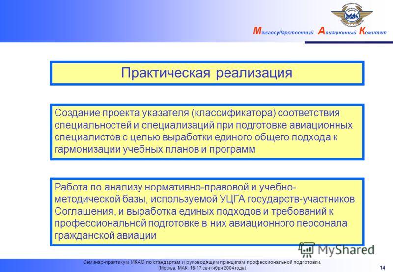 М ежгосударственный А виационный К омитет 14 Семинар-практикум ИКАО по стандартам и руководящим принципам профессиональной подготовки. (Москва, МАК, 16-17 сентября 2004 года) Практическая реализация Создание проекта указателя (классификатора) соответ