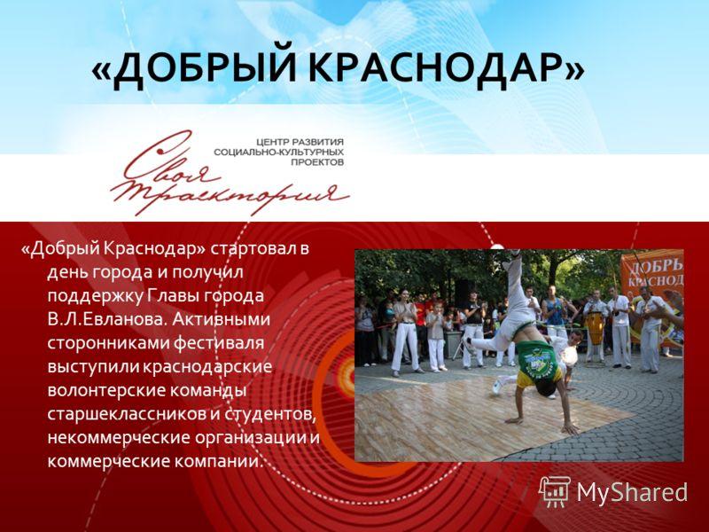 «Добрый Краснодар» стартовал в день города и получил поддержку Главы города В.Л.Евланова. Активными сторонниками фестиваля выступили краснодарские волонтерские команды старшеклассников и студентов, некоммерческие организации и коммерческие компании.