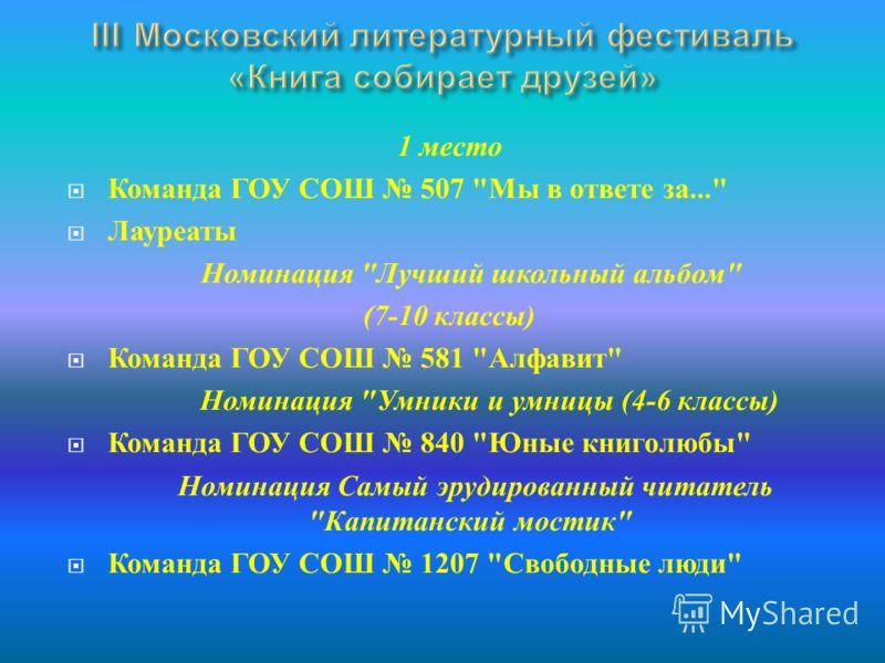 1 место Команда ГОУ СОШ 507