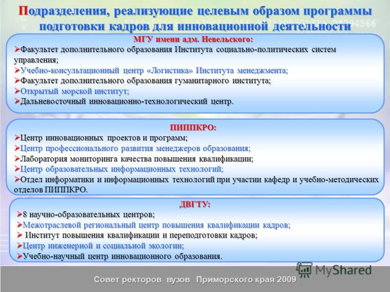 Совет ректоров вузов Приморского края 2009 Подразделения, реализующие целевым образом программы подготовки кадров для инновационной деятельности ДВГТУ: 8 научно-образовательных центров; 8 научно-образовательных центров; Межотраслевой региональный цен