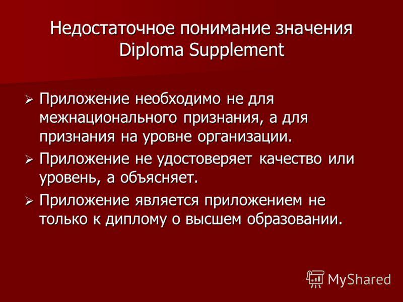 Недостаточное понимание значения Diploma Supplement Приложение необходимо не для межнационального признания, а для признания на уровне организации. Приложение необходимо не для межнационального признания, а для признания на уровне организации. Прилож