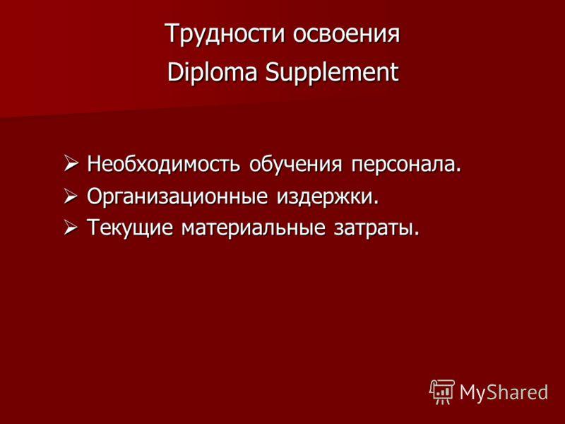 Трудности освоения Diploma Supplement Необходимость обучения персонала. Необходимость обучения персонала. Организационные издержки. Организационные издержки. Текущие материальные затраты. Текущие материальные затраты.