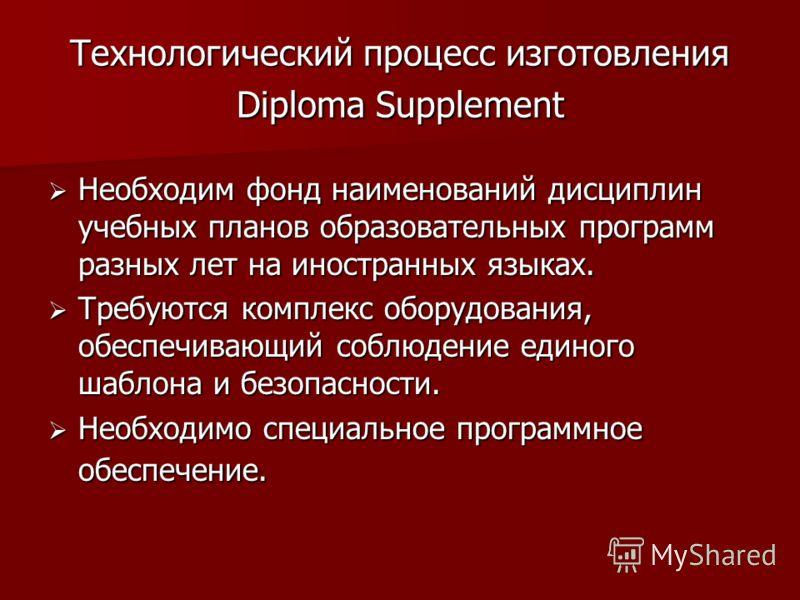 Технологический процесс изготовления Diploma Supplement Необходим фонд наименований дисциплин учебных планов образовательных программ разных лет на иностранных языках. Необходим фонд наименований дисциплин учебных планов образовательных программ разн