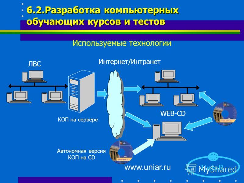 www.uniar.ru UnIaR 6.1. Разработка компьютерных обучающих курсов и тестов Используемые технологии CBT-технология (Computer Base Training - Тренировка практических навыков на базе компьютера). Рассказ – информационный экран заменяет преподавателя и да