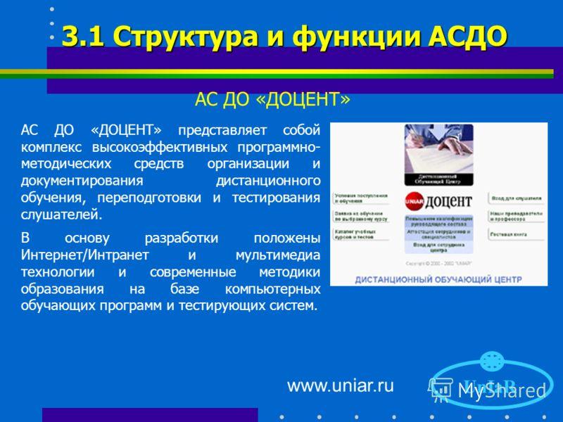 www.uniar.ru 2.4 Типичные проблемы UnIaR 1. Качество каналов связи 2. Контент 3. Человеческий фактор 4. Масштабируемость 5. Настройка на структуру организации 6. Обмен данными с существующими БД