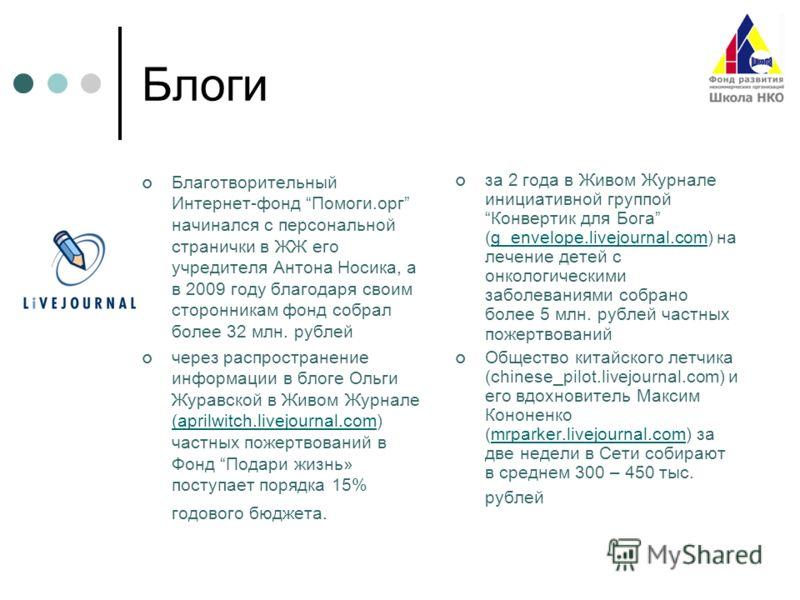 Блоги Благотворительный Интернет-фонд Помоги.орг начинался с персональной странички в ЖЖ его учредителя Антона Носика, а в 2009 году благодаря своим сторонникам фонд собрал более 32 млн. рублей через распространение информации в блоге Ольги Журавской