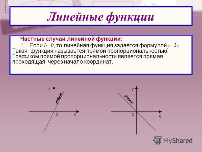 Частные случаи линейной функции: 1. Если b=0, то линейная функция задается формулой y=kx. Такая функция называется прямой пропорциональностью. Графиком прямой пропорциональности является прямая, проходящая через начало координат. Линейные функции ОХ