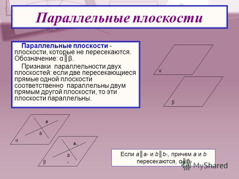 Параллельные плоскости - плоскости, которые не пересекаются. Обозначение: αβ. Признаки параллельности двух плоскостей: если две пересекающиеся прямые одной плоскости соответственно параллельны двум прямым другой плоскости, то эти плоскости параллельн