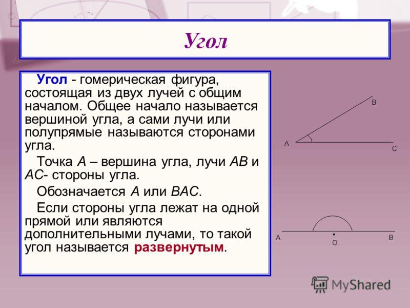 Угол - гомерическая фигура, состоящая из двух лучей с общим началом. Общее начало называется вершиной угла, а сами лучи или полупрямые называются сторонами угла. Точка А – вершина угла, лучи АВ и АС- стороны угла. Обозначается А или ВАС. Если стороны