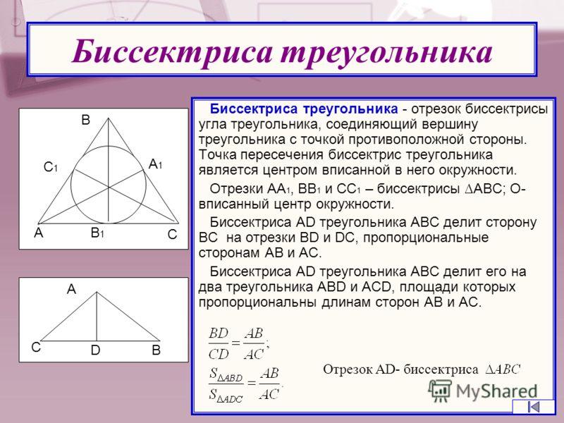 Биссектриса треугольника Биссектриса треугольника - отрезок биссектрисы угла треугольника, соединяющий вершину треугольника с точкой противоположной стороны. Точка пересечения биссектрис треугольника является центром вписанной в него окружности. Отре