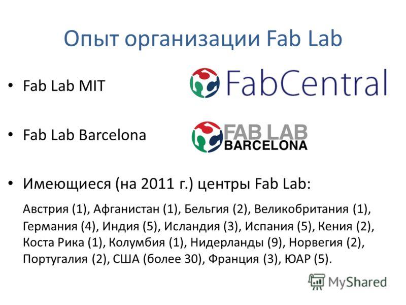 Опыт организации Fab Lab Fab Lab MIT Fab Lab Barcelona Имеющиеся (на 2011 г.) центры Fab Lab: Австрия (1), Афганистан (1), Бельгия (2), Великобритания (1), Германия (4), Индия (5), Исландия (3), Испания (5), Кения (2), Коста Рика (1), Колумбия (1), Н