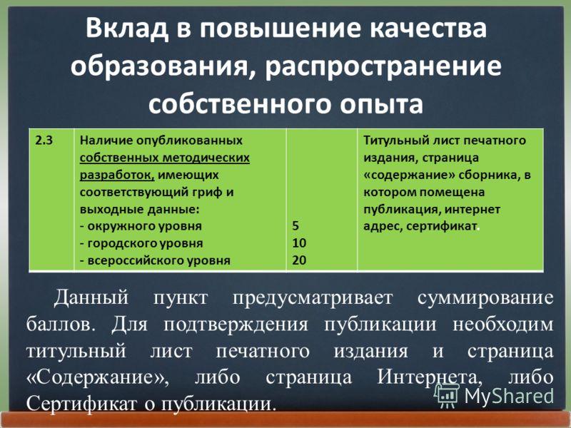 Вклад в повышение качества образования, распространение собственного опыта 2.3Наличие опубликованных собственных методических разработок, имеющих соответствующий гриф и выходные данные: - окружного уровня - городского уровня - всероссийского уровня 5