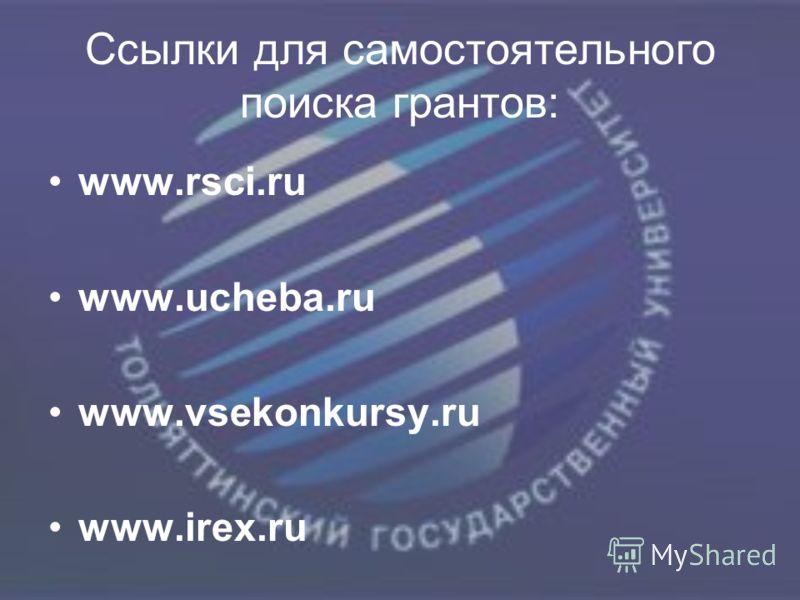 Ссылки для самостоятельного поиска грантов: www.rsci.ru www.ucheba.ru www.vsekonkursy.ru www.irex.ru