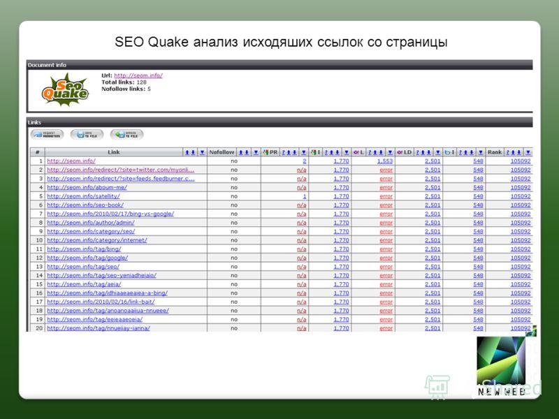 SEO Quake анализ исходяших ссылок со страницы