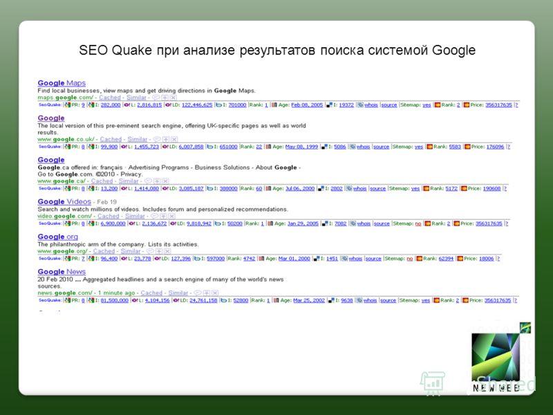SEO Quake при анализе результатов поиска системой Google
