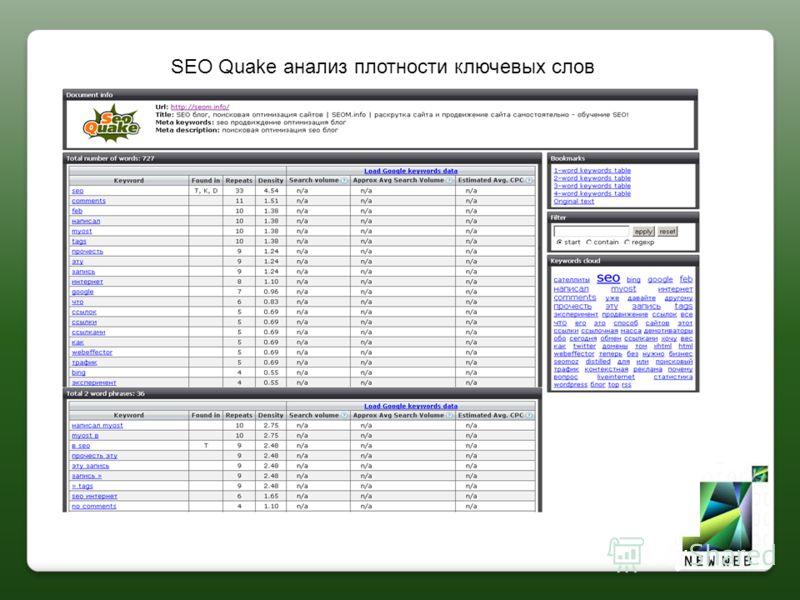 SEO Quake анализ плотности ключевых слов