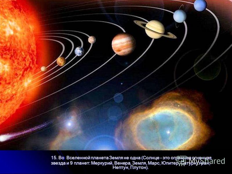 15. Во Вселенной планета Земля не одна (Солнце - это огромная огненная 15. Во Вселенной планета Земля не одна (Солнце - это огромная огненная звезда и 9 планет: Меркурий, Венера, Земля, Марс, Юпитер, Сатурн, Уран, Нептун, Плутон).