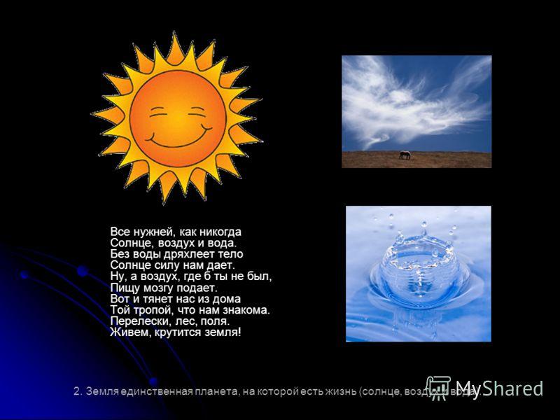 2. Земля единственная планета, на которой есть жизнь (солнце, воздух и вода). Все нужней, как никогда Солнце, воздух и вода. Без воды дряхлеет тело Солнце силу нам дает. Ну, а воздух, где б ты не был, Пищу мозгу подает. Вот и тянет нас из дома Той тр