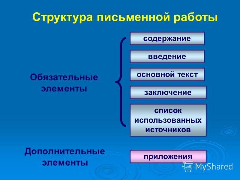 содержание введение основной текст заключение список использованных источников приложения Обязательные элементы Дополнительные элементы Структура письменной работы
