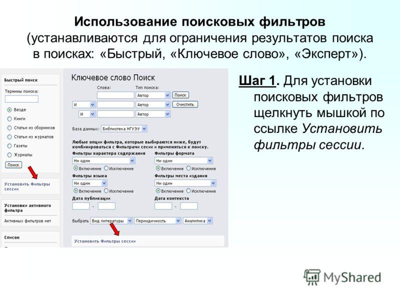 Использование поисковых фильтров (устанавливаются для ограничения результатов поиска в поисках: «Быстрый, «Ключевое слово», «Эксперт»). Шаг 1. Для установки поисковых фильтров щелкнуть мышкой по ссылке Установить фильтры сессии.