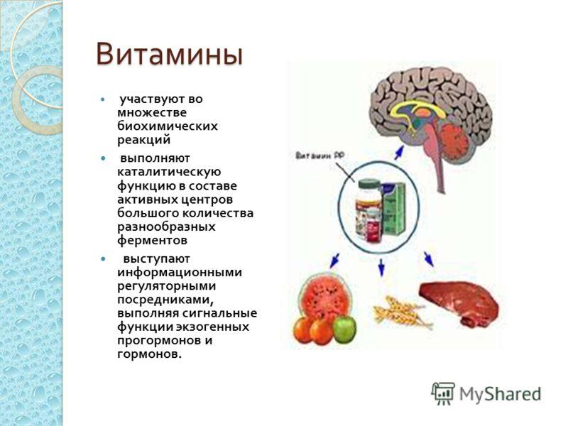 Витамины участвуют во множестве биохимических реакций выполня ют каталитическую функцию в составе активных центров большого количества разнообразных ферментов выступа ют информационными регуляторными посредниками, выполняя сигнальные функции экзогенн