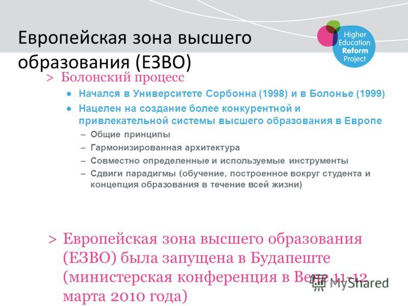 >Болонский процесс Начался в Университете Сорбонна (1998) и в Болонье (1999) Нацелен на создание более конкурентной и привлекательной системы высшего образования в Европе – Общие принципы – Гармонизированная архитектура – Совместно определенные и исп