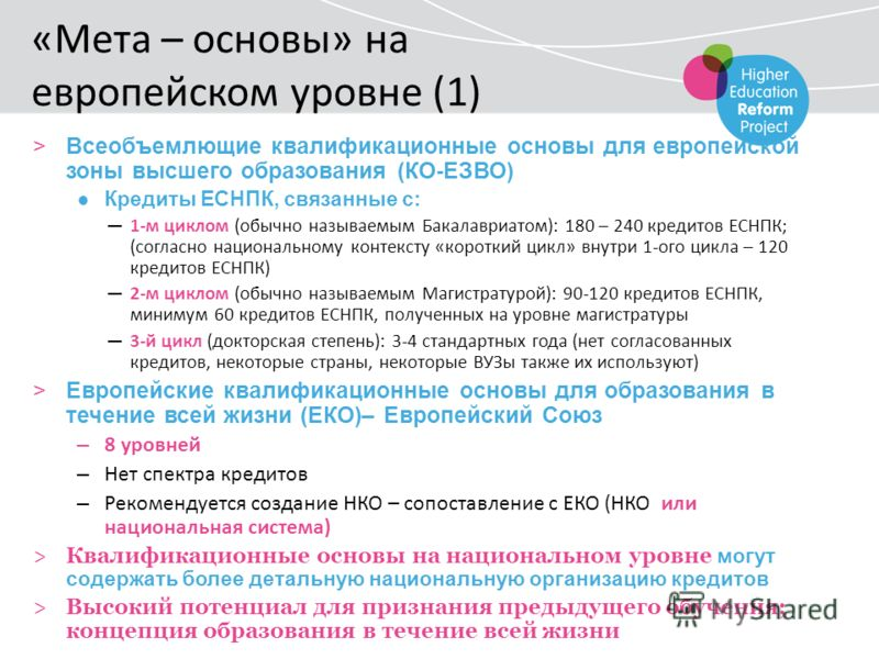 «Мета – основы» на европейском уровне (1) >Всеобъемлющие квалификационные основы для европейской зоны высшего образования (КО-ЕЗВО) Кредиты ЕСНПК, связанные с: 1-м циклом (обычно называемым Бакалавриатом): 180 – 240 кредитов ЕСНПК; (согласно национал