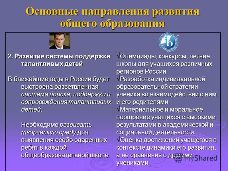 Основные направления развития общего образования 2. Развитие системы поддержки талантливых детей В ближайшие годы в России будет выстроена разветвлённая система поиска, поддержки и сопровождения талантливых детей. Необходимо развивать творческую сред