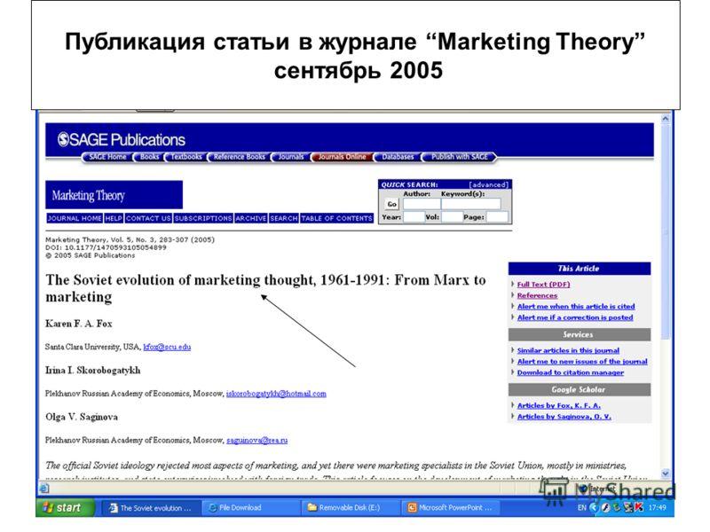 Скоробогатых И.И.29 Публикация статьи в журнале Marketing Theory сентябрь 2005
