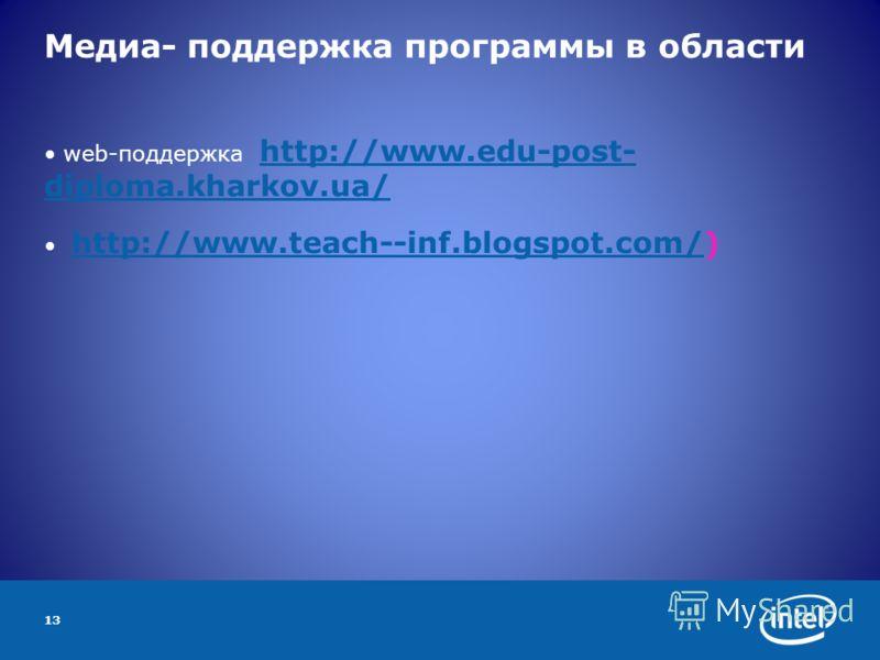 13 Медиа- поддержка программы в области web-поддержка http://www.edu-post- diploma.kharkov.ua/ http://www.edu-post- diploma.kharkov.ua/ http://www.teach--inf.blogspot.com/) http://www.teach--inf.blogspot.com/