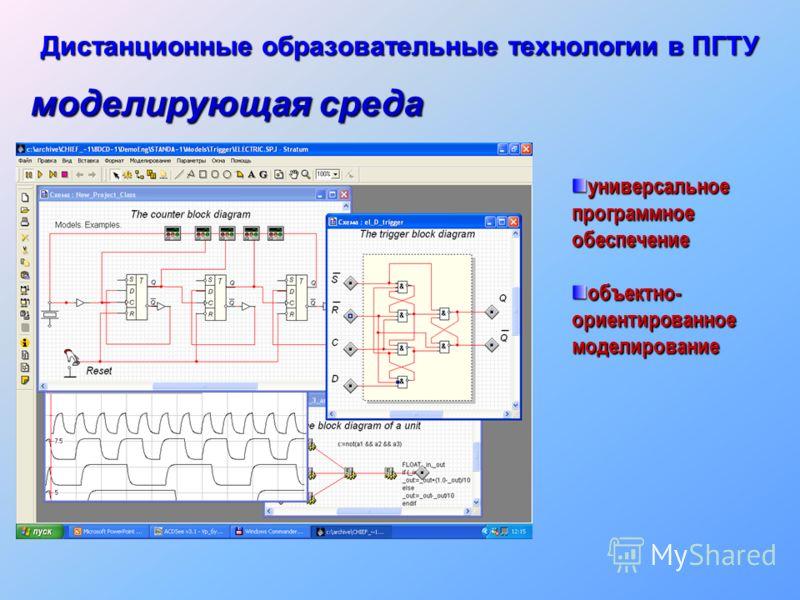 Дистанционные образовательные технологии в ПГТУ универсальное программное обеспечение объектно- ориентированное моделирование моделирующая среда
