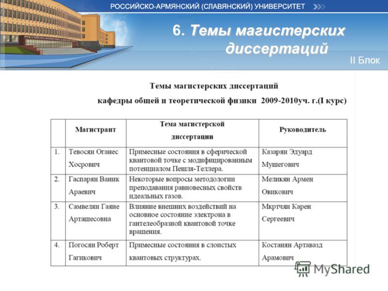 Темы магистерских диссертаций 6. Темы магистерских диссертаций II Блок